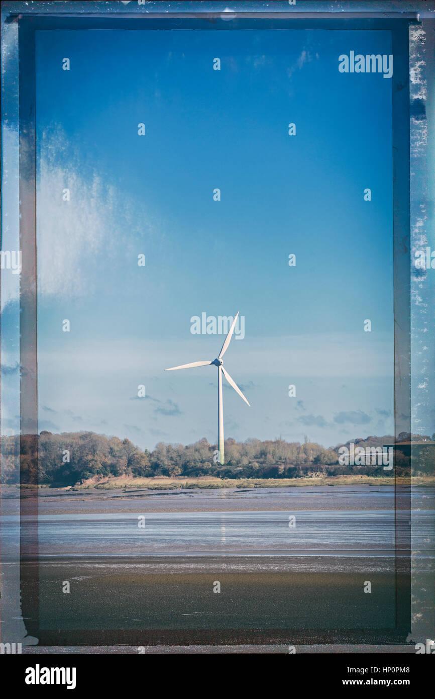Wind turbine on the Severn Estuary. - Stock Image