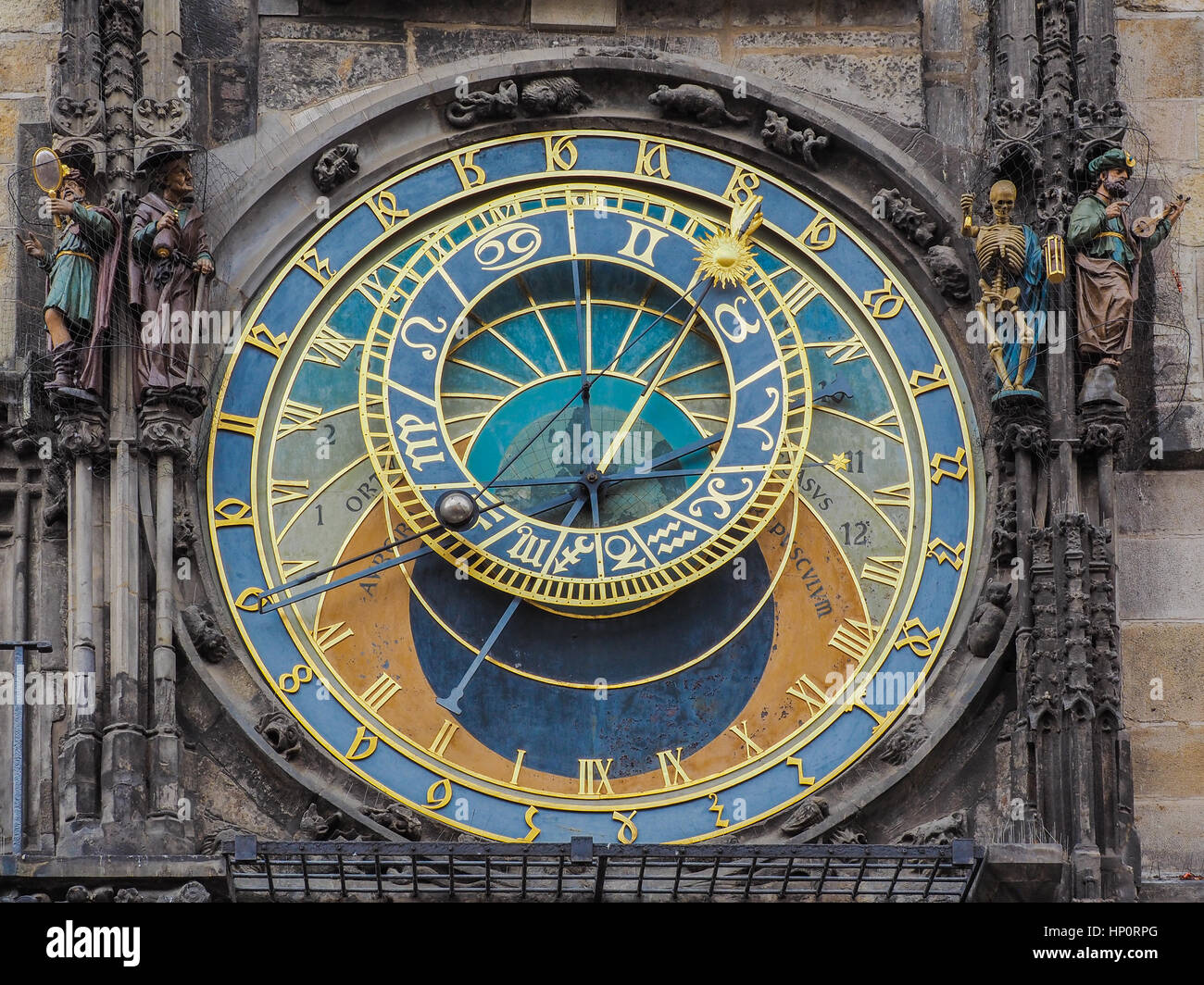 Closeup of the astronomic clock at the town hall of Prague, Czech Republic - Stock Image