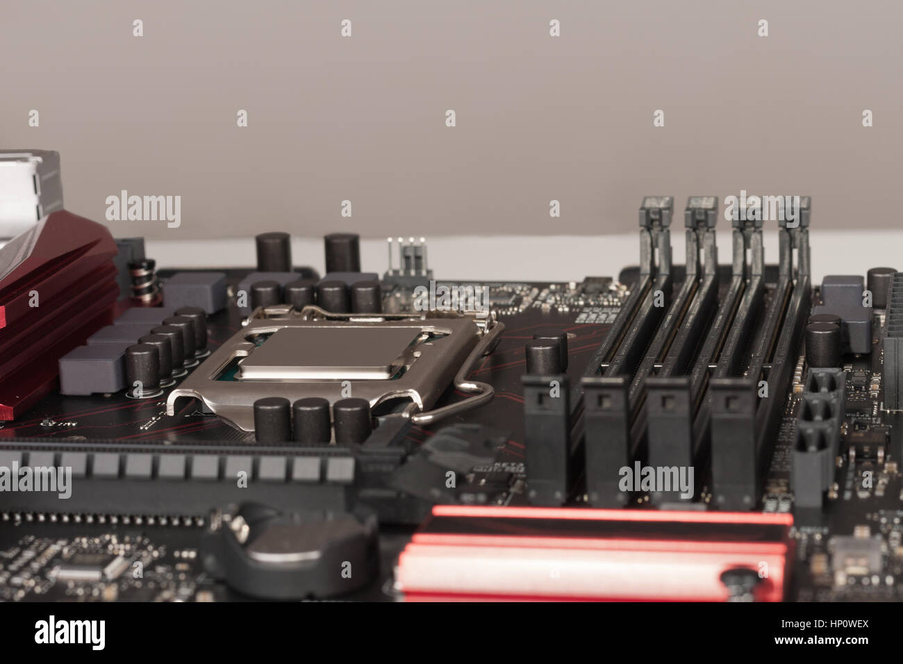 Close up of installed CPU processor on modern, new, gaming motherboard. Stock Photo
