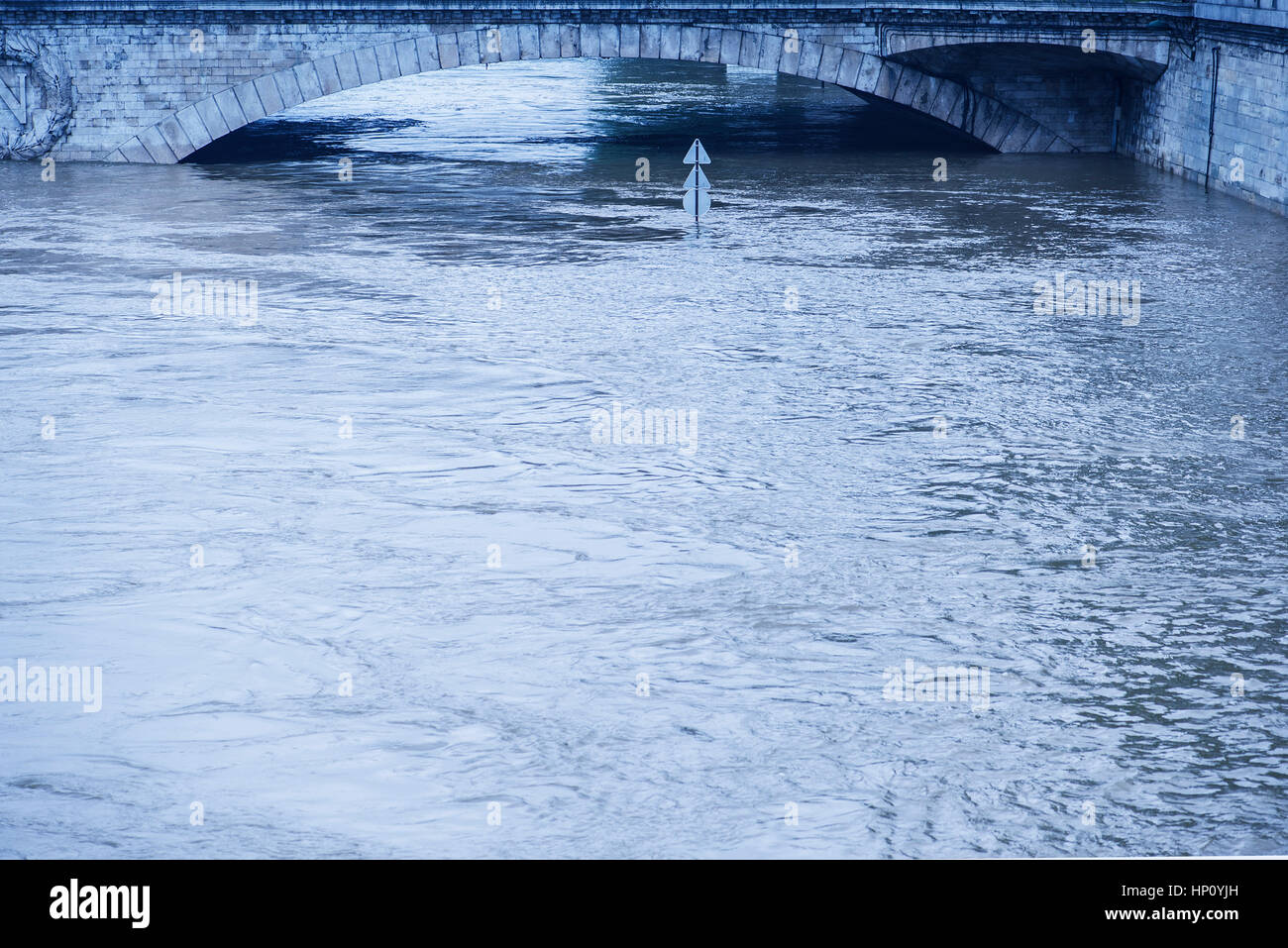 Rising waters during a period of flooding in the Seine River, Paris, France - Stock Image