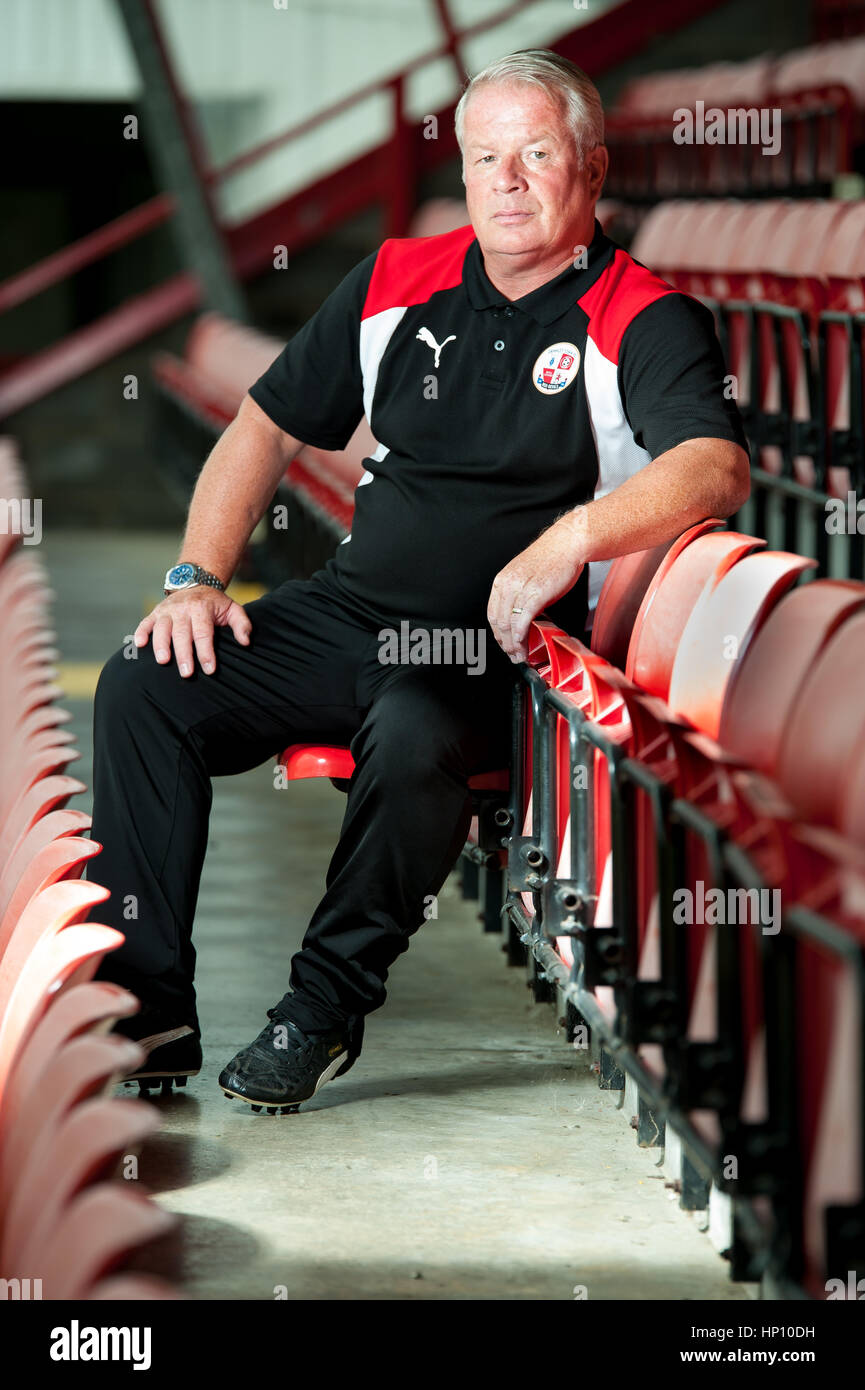 Dermot Drummy - Crawley Town FC manager at the ground. After losing his job at the club he passed away in November Stock Photo