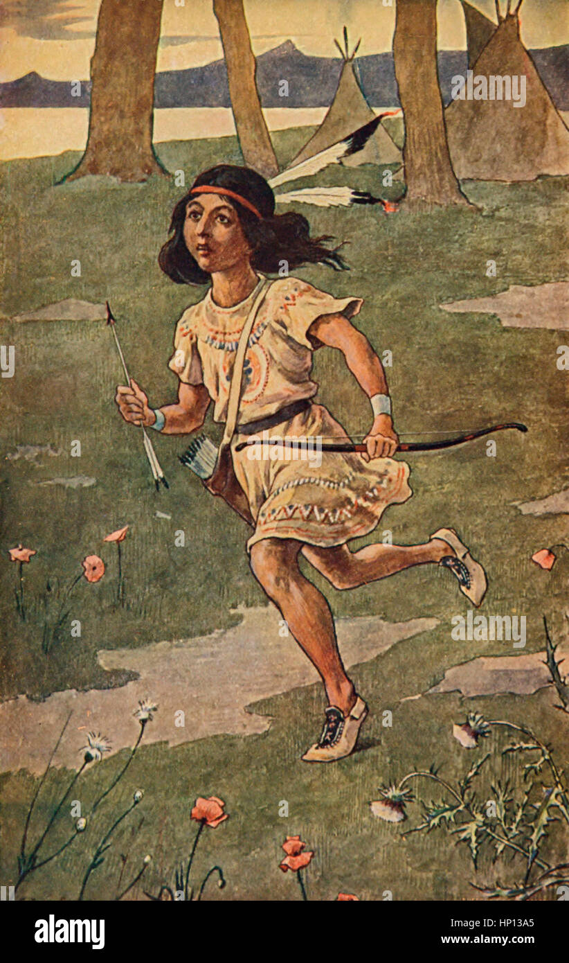 Swift of Foot was Hiawatha - From the Epic Poem The Song of Hiawatha - Stock Image