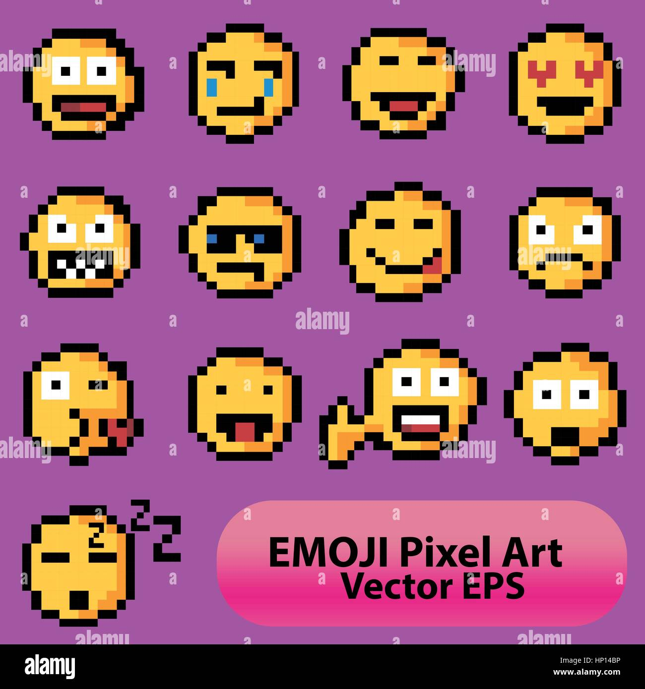 A set of emodzhi emoticons for applications. Pixel art. - Stock Vector