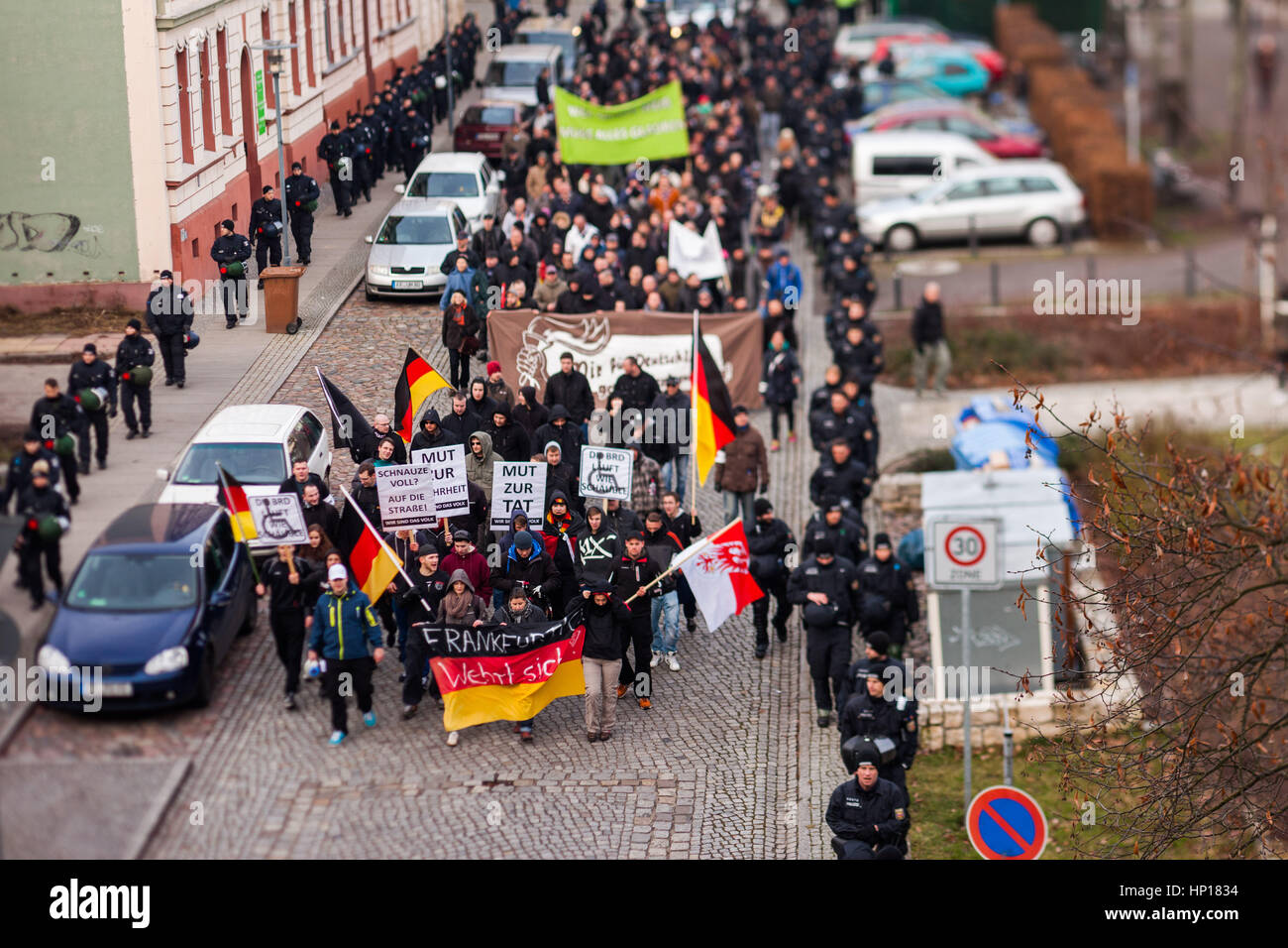 FRANKFURT (ODER), GERMANY - 17 January 2015: Right-wing demonstrators march against immigration and refugees, 15 - Stock Image