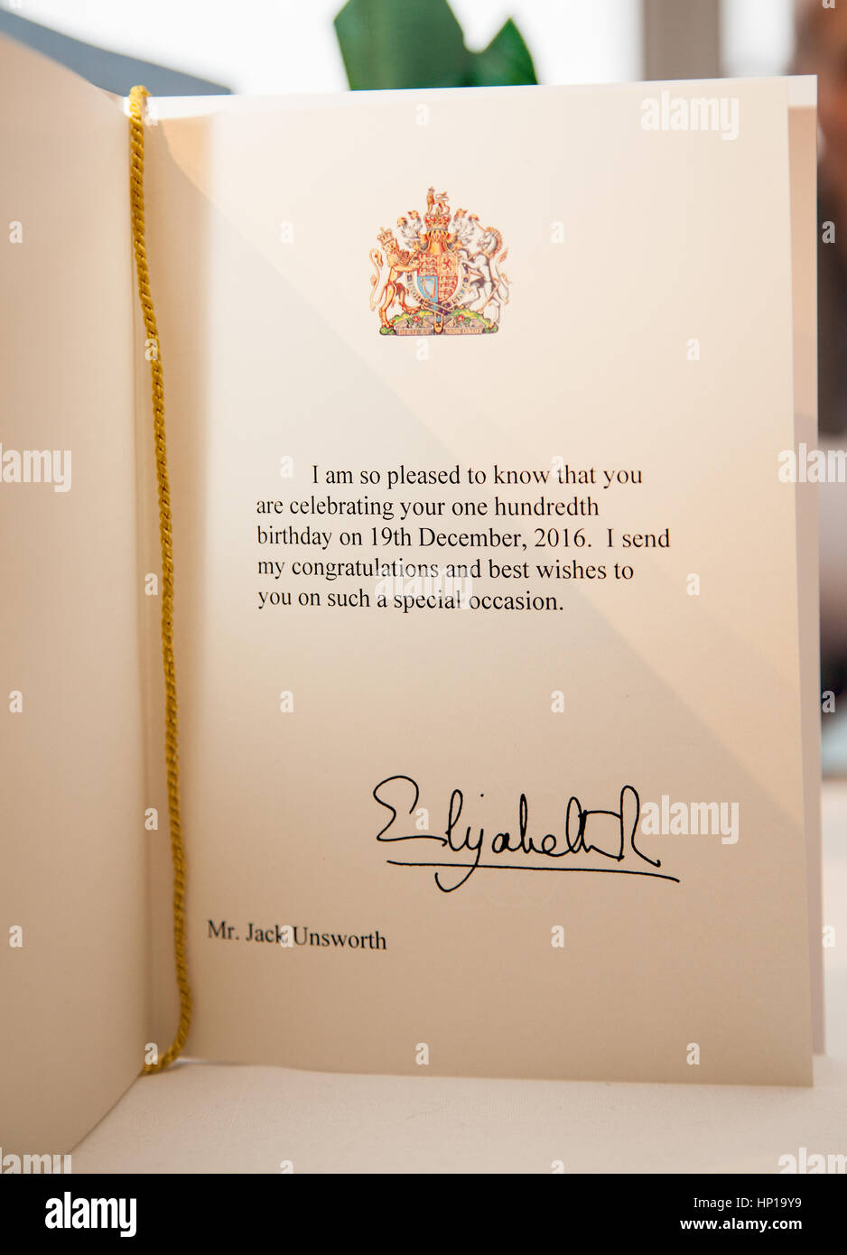 telegram and birthday card from queen elizabeth ll to congratulate man on his 100th birthday