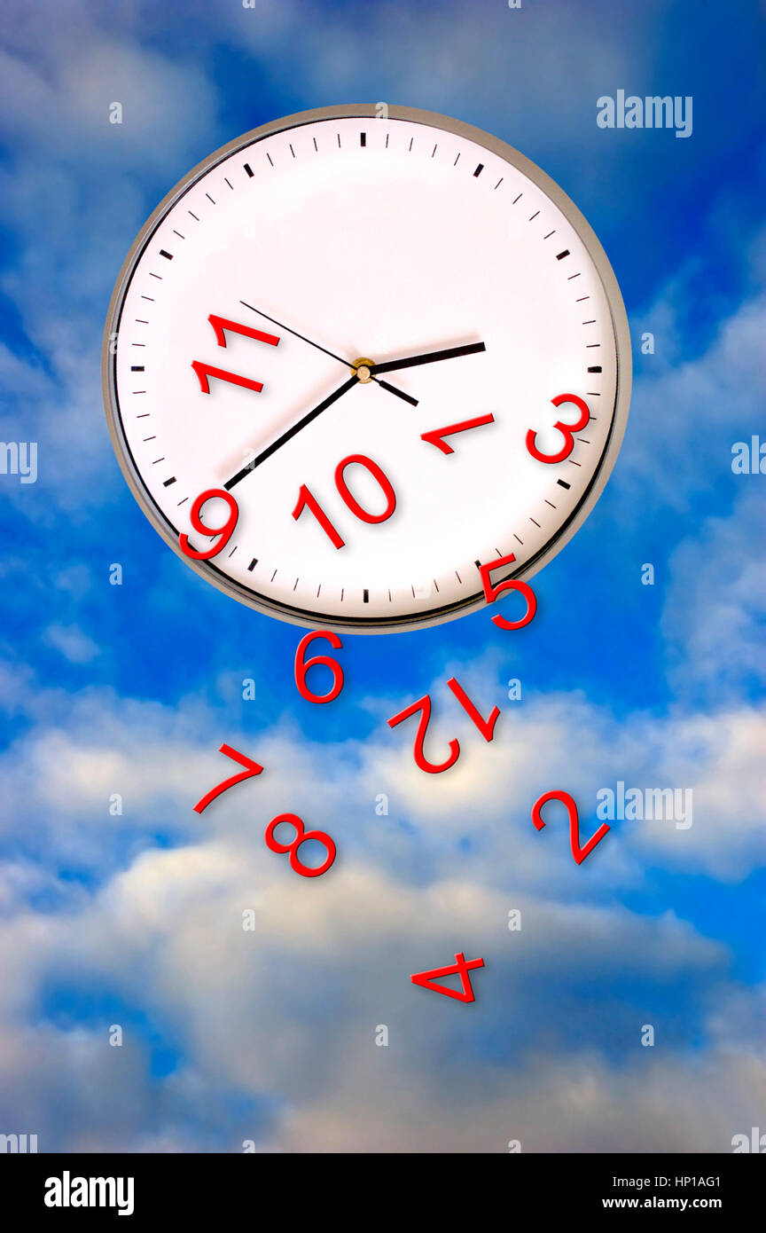 clock with numbers falling down - Stock Image