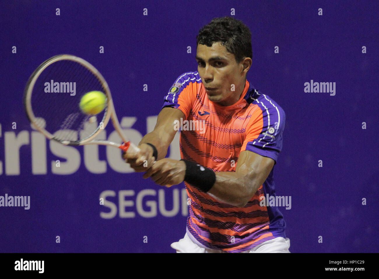 Buenos Aires, Argentina. 16th February 2017. Brazilian player Thiago Monteiro wins his match over Tommy Robredo - Stock Image