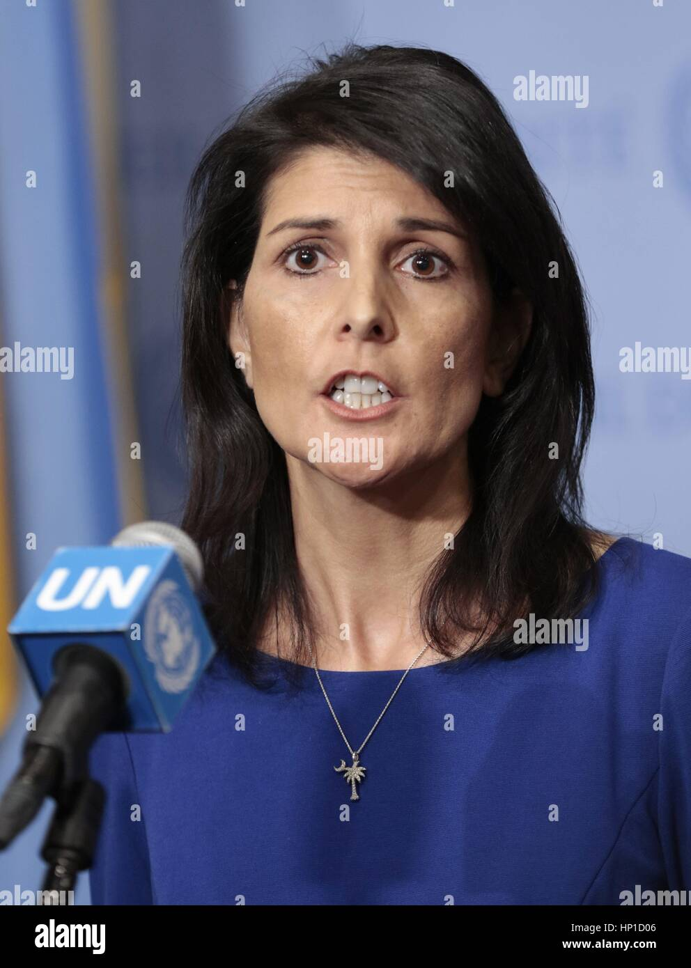 UN, New York, uSA. 16th February 2017. Nikki Haley, Ambassador of the United States to the United Nations Press - Stock Image