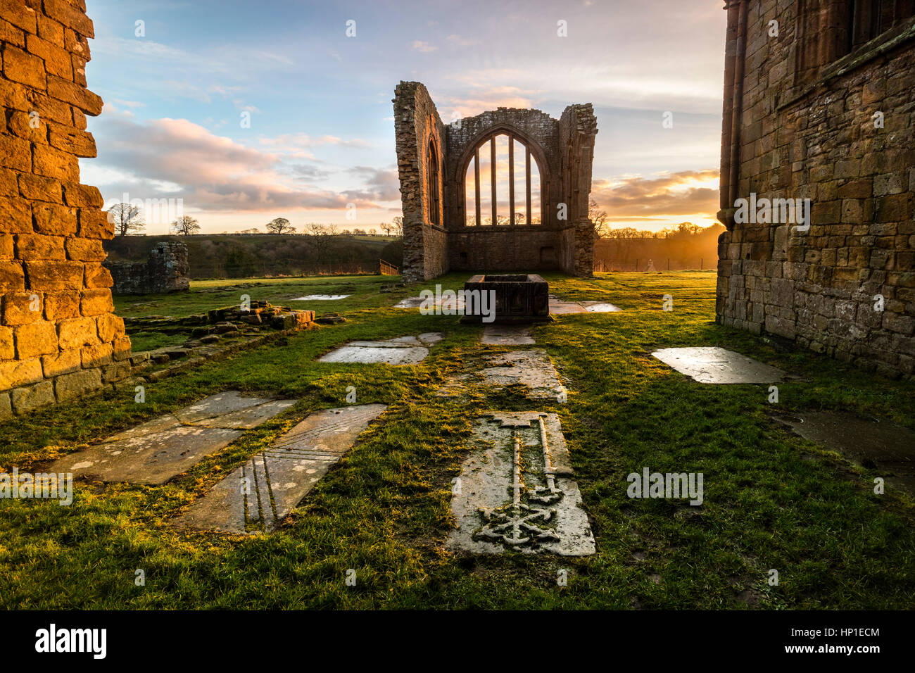 Egglestone Abbey, Barnard Castle, Teesdale, County Durham UK.  Friday 17th February 2017.  UK Weather.  It was a - Stock Image