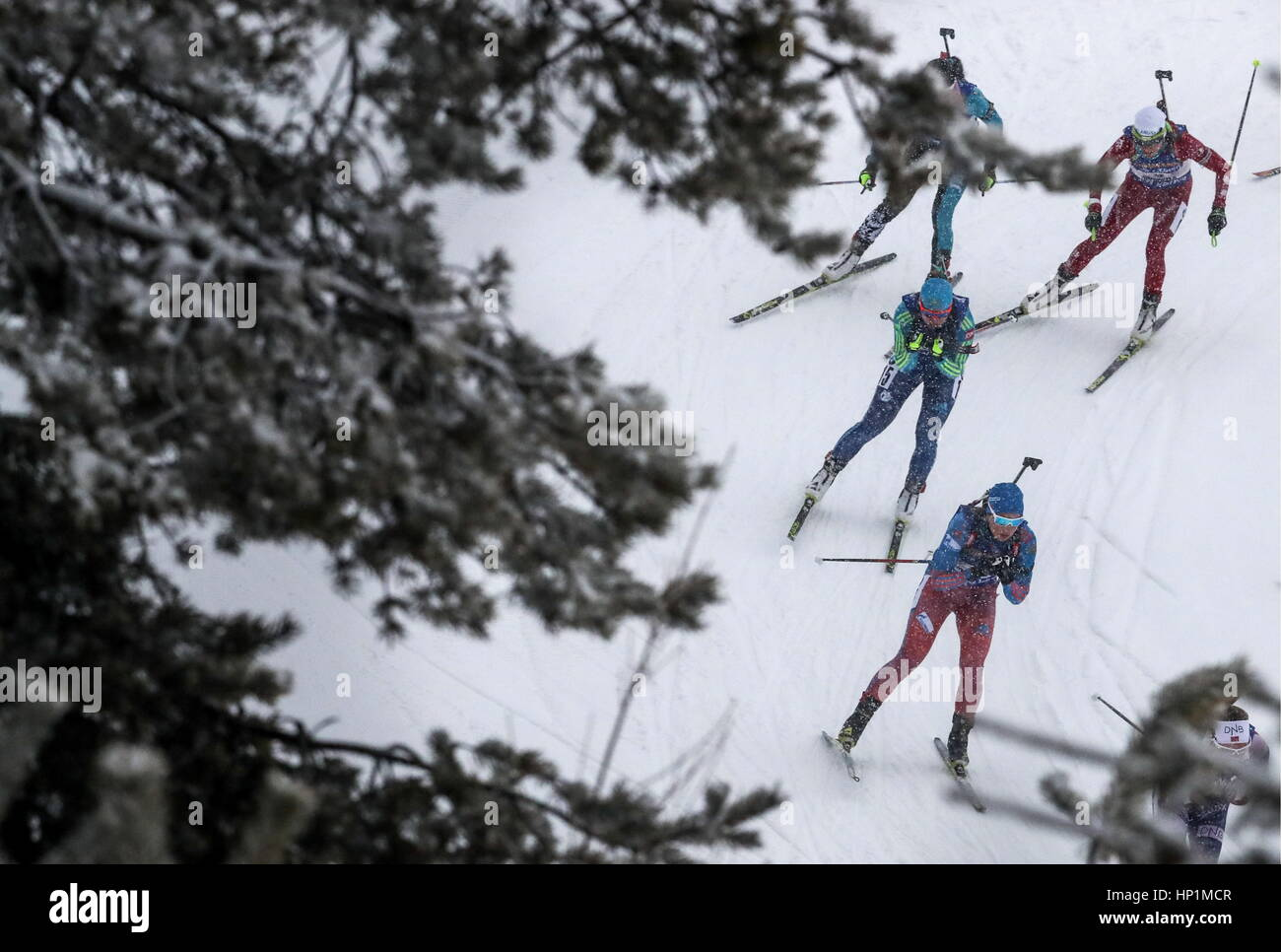 Hochfilzen, Austria. 17th Feb, 2017. Biathletes compete in the women's 4x6km relay event at the 2017 IBU Biathlon - Stock Image