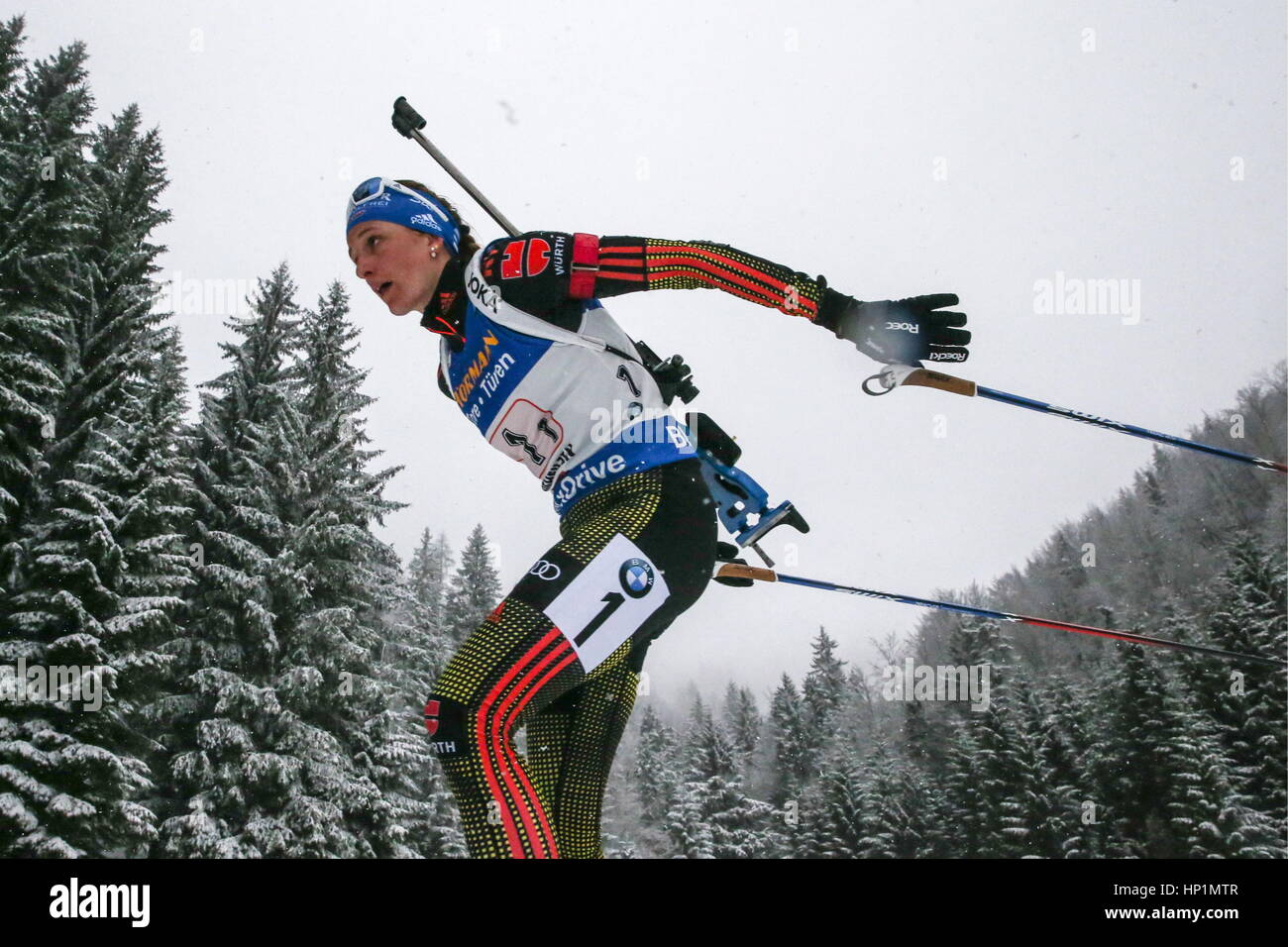 Hochfilzen, Austria. 17th Feb, 2017. Biathlete Vanessa Hinz of Germany competes in the women's 4x6km relay event - Stock Image