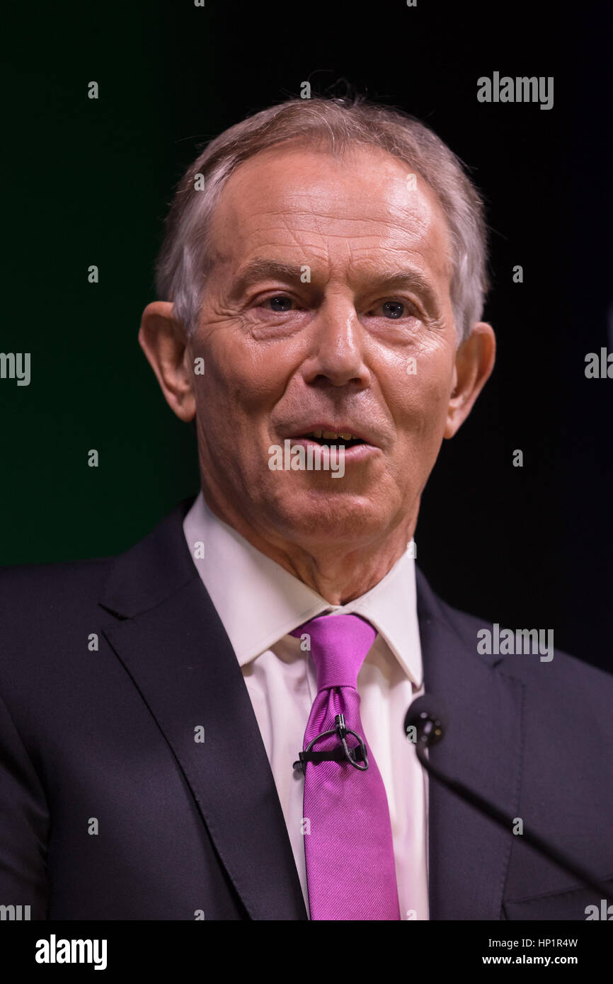 London, UK. 17th Feb 2017. Tony Blair makes a keynote speech about Brexit at an Open Britain event held at Bloomberg - Stock Image