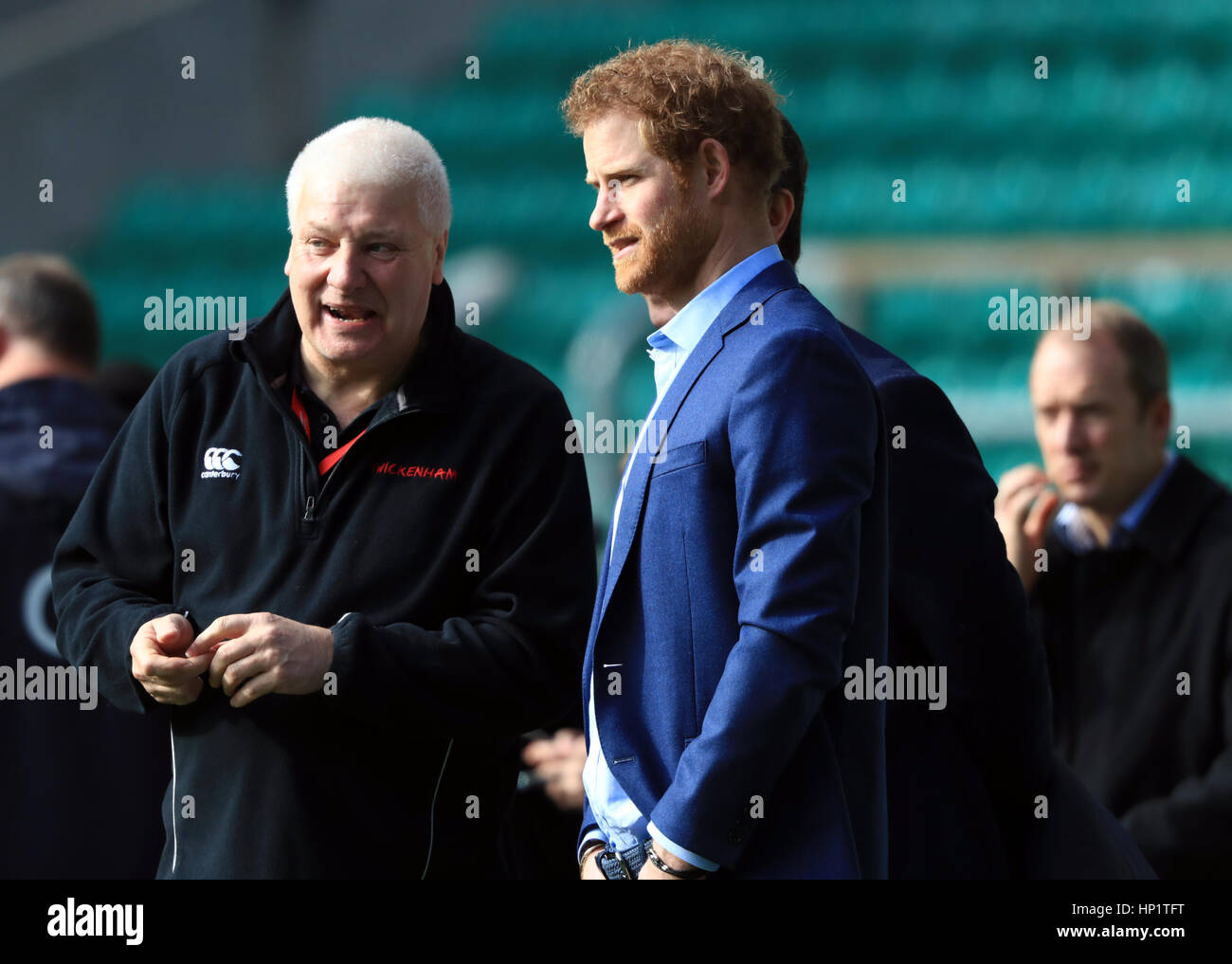 Prince Harry, Patron of the Rugby Football Union (RFU) attends an England Rugby training session at Twickenham Stadium, - Stock Image