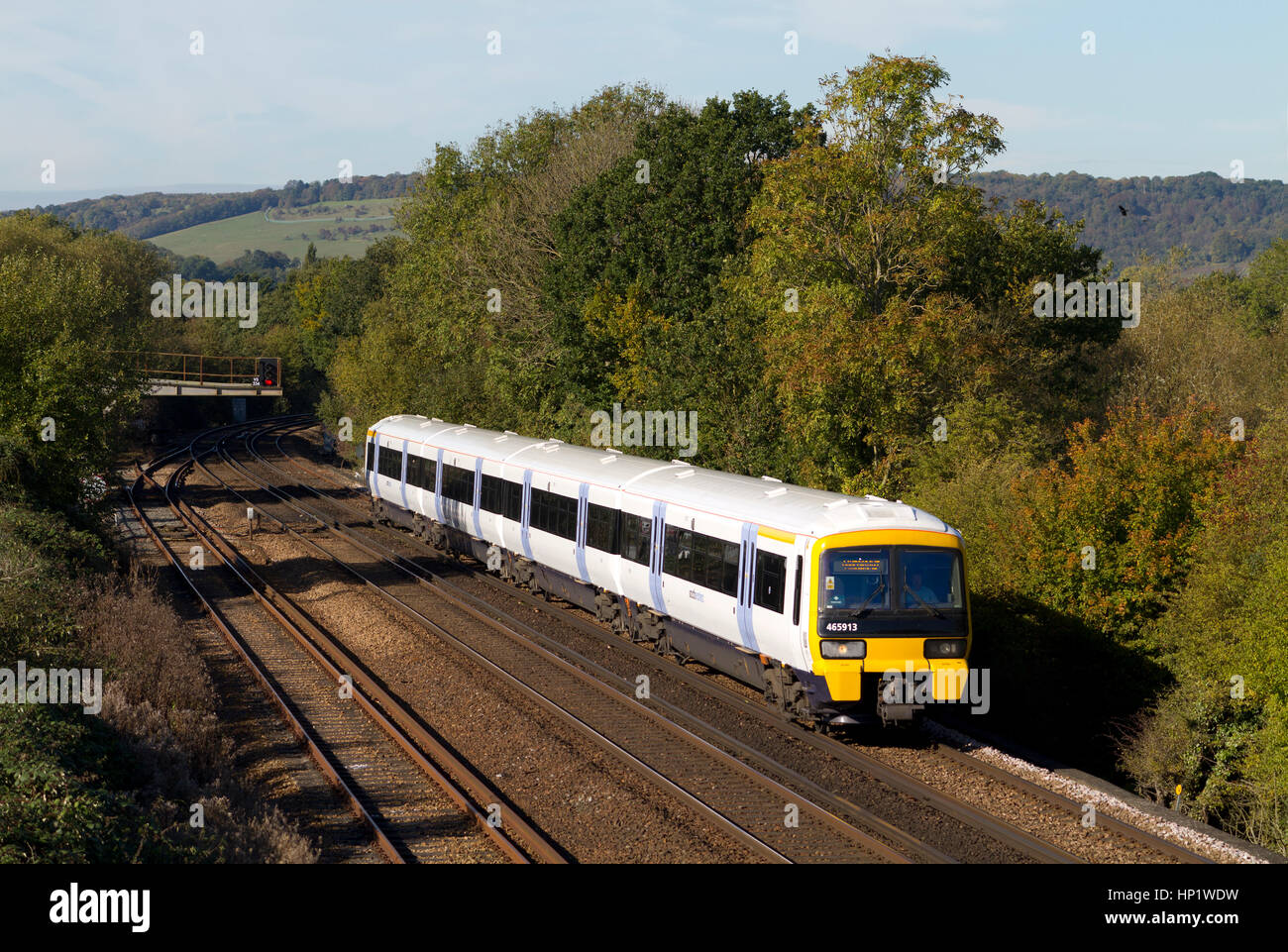 OTFORD JUNCTION, KENT, ENGLAND - OCTOBER 21ST 2010 - A British Rail Class 465 Networker electric multiple unit operated - Stock Image