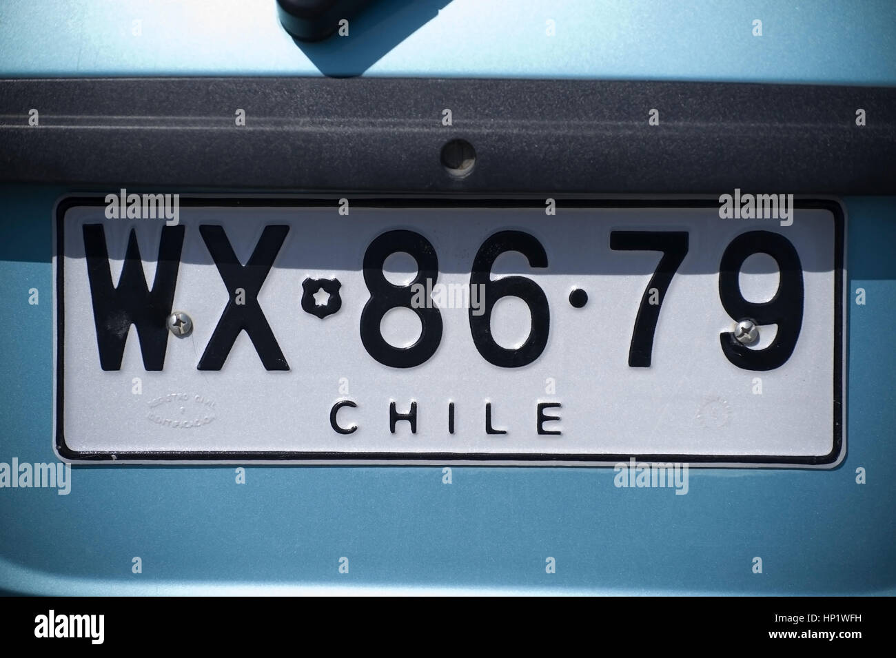 Autokennzeichen, Chile - numberplate, Chile - Stock Image