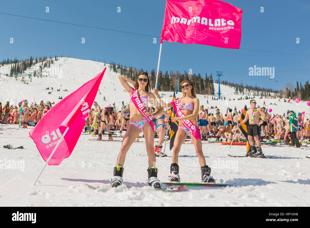 Sheregesh, Kemerovo region, Russia - April 16, 2016: Grelka Fest is a sports and entertainment activity for ski - Stock Image