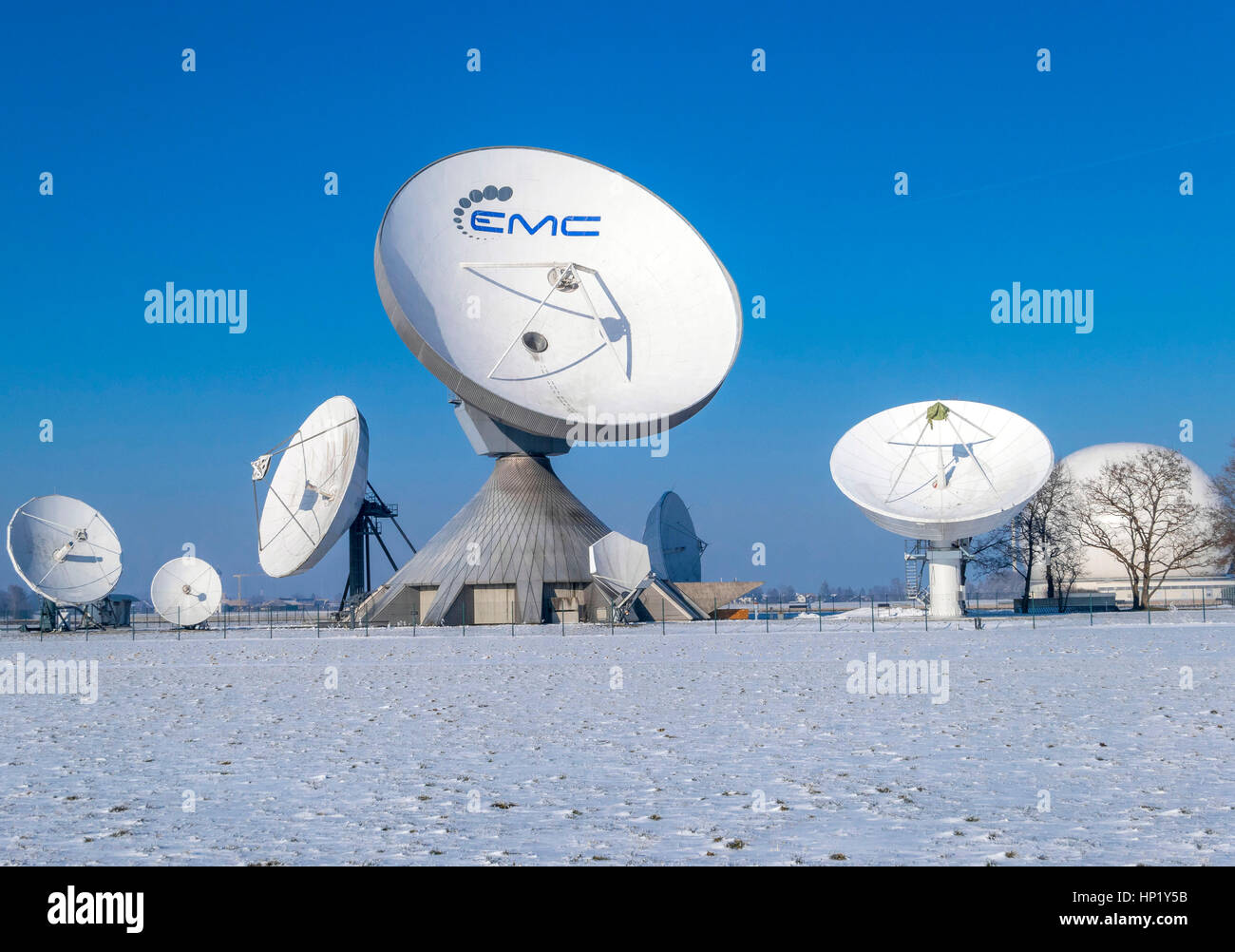 Satellite dish, Raisting Satellite Earth Station in Winter, ground station, satellite communications, Upper Bavaria, Stock Photo