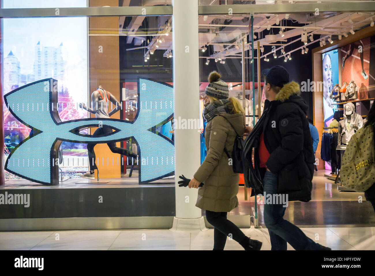 The Under Armour store in the Westfield World Trade Center Oculus mall in New York on Saturday, February 11, 2017. - Stock Image