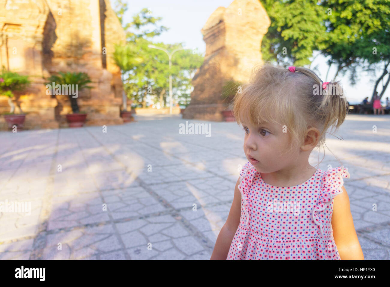 Beautiful Little Girl On A Background Towers Ponagar Vietnam