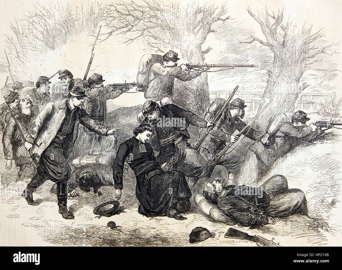 Battle of Le Mans, France between the 10-12 January 1871 where a priest was shot dead. It was a Prussian victory Stock Photo