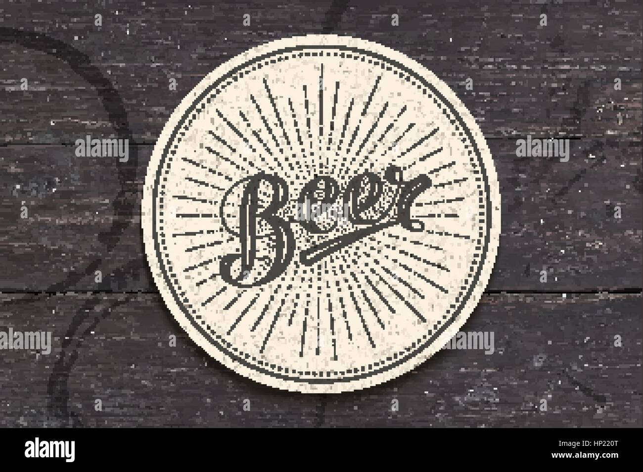 Coaster with hand drawn lettering Beer - Stock Image