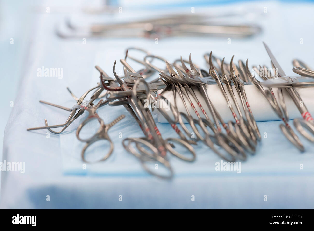 sterile surgical instruments on during the operation table - Stock Image