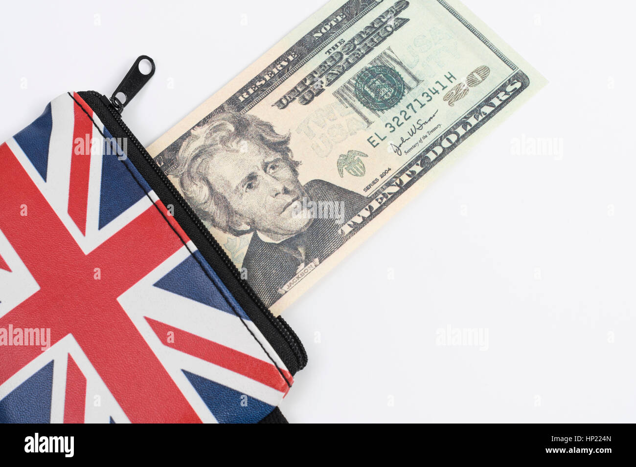Union Jack coin purse with US 20$ / twenty dollar bill / banknote - as metaphor for US Dollar-Sterling exchange - Stock Image