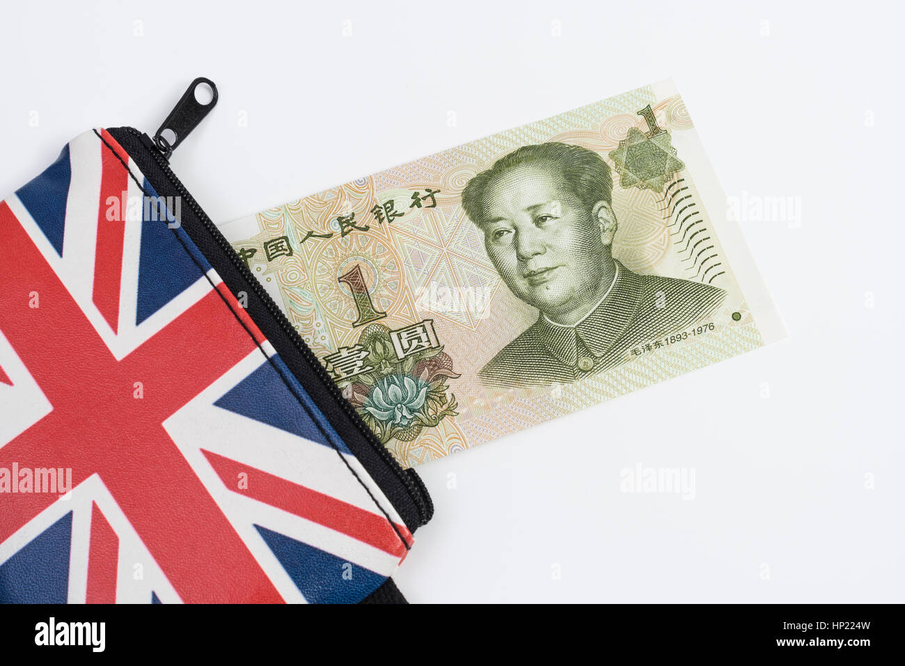 Union Jack coin purse with Chinese 1 Yuan banknote - as metaphor for Yuan / Renminbi-Sterling exchange rate. - Stock Image