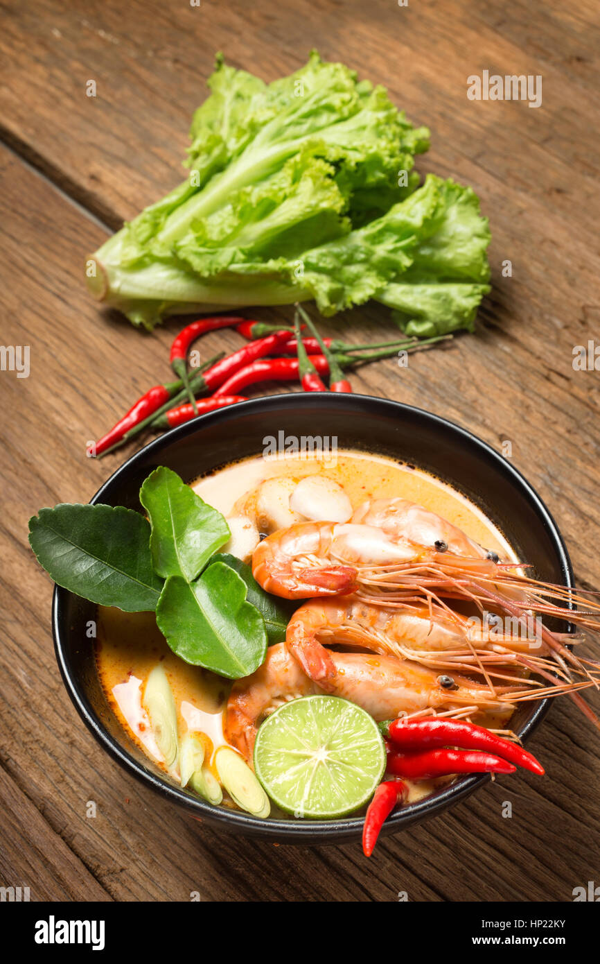 thai food tom yam goong spicy soup with ingredient - Stock Image