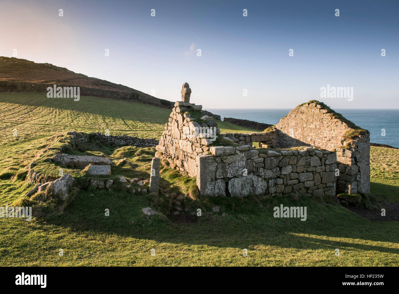 remains Christian St Helen's Oratory Tourism Cape Cornwall England UK. - Stock Image