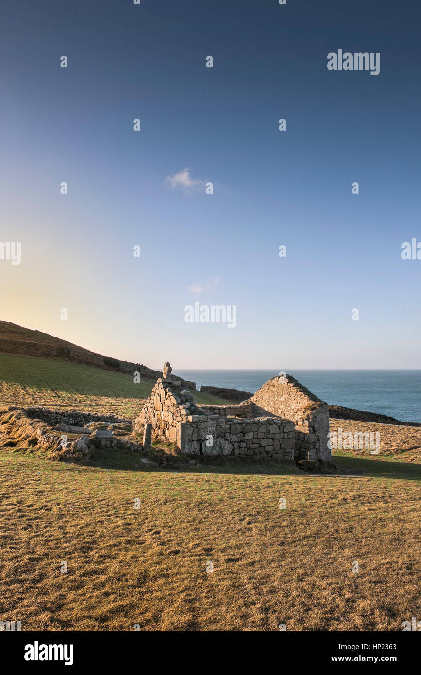 remains Christian St Helen's Oratory Cape Cornwall England UK. - Stock Image