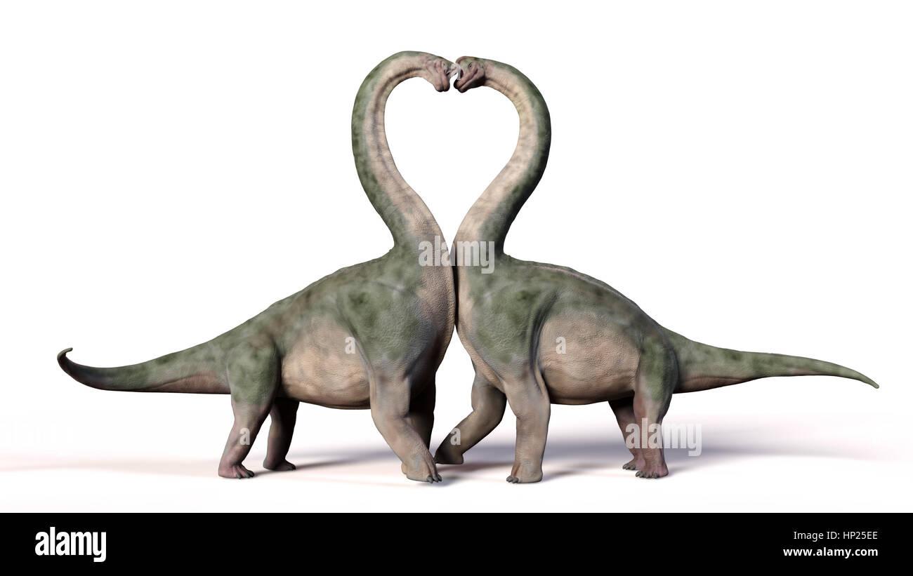 Brachiosaurus couple in love, forming a heart shape (3d illustration) Stock Photo