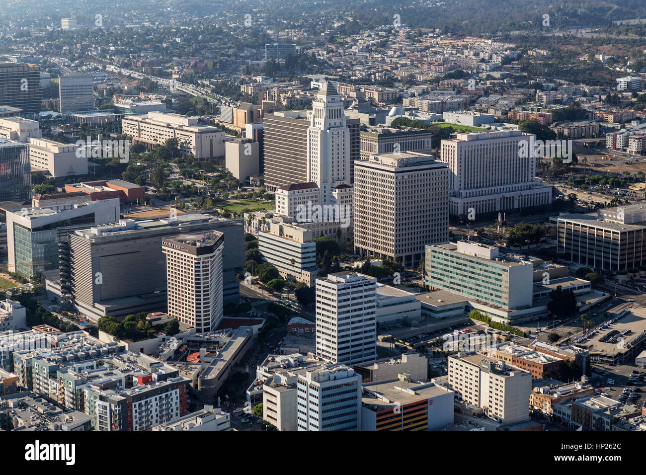 Los Angeles, California, USA - August 6, 2016:  Afternoon aerial view of LA City Hall and Civic Center buildings. - Stock Image