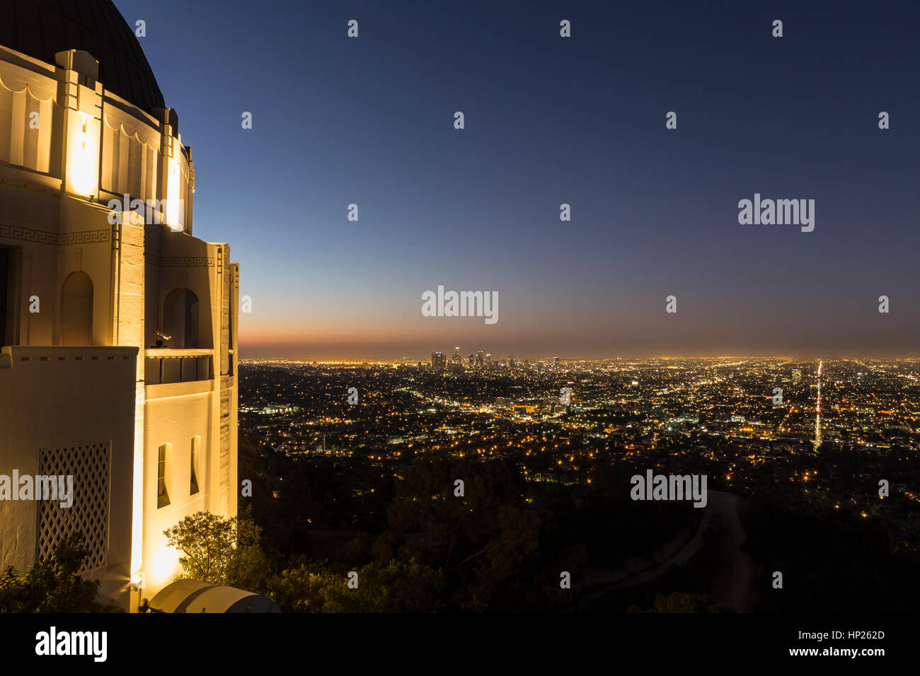 Los Angeles, California, USA - September 30, 2014:  Dawn view of downtown Los Angeles from LA's famous Griffith Stock Photo