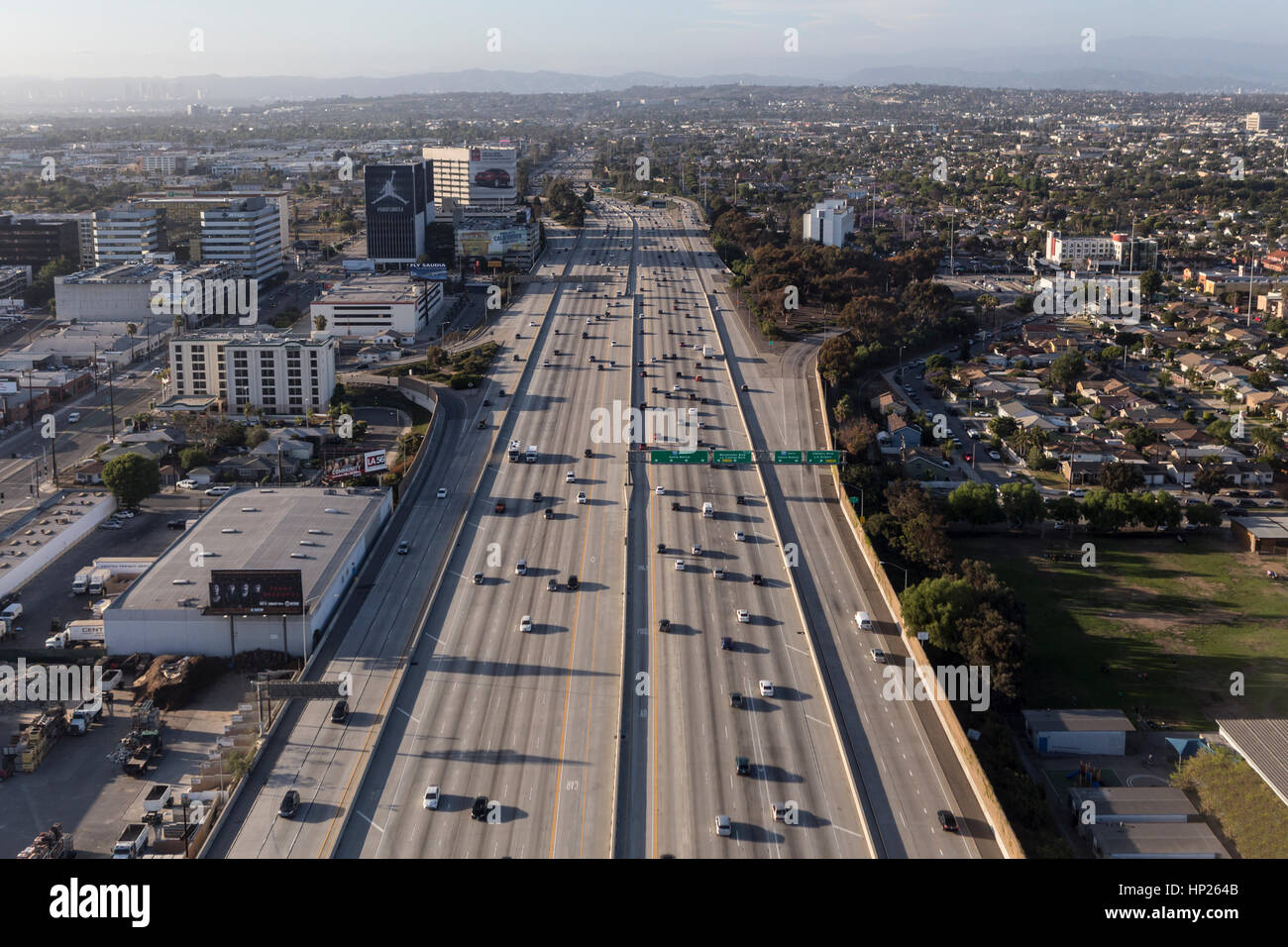 Los Angeles, California, USA - May 9, 2014:  Aerial of flowing traffic on the massive San Diego 405 freeway in west Stock Photo