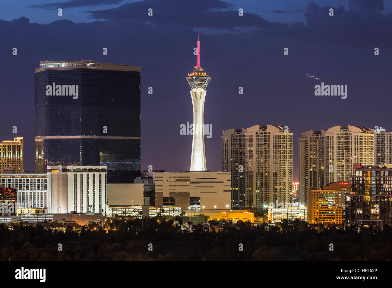 Las Vegas, Nevada, USA - June 10, 2015:  Stormy night sky behind the Stratosphere and Fontainebleau towers on the - Stock Image
