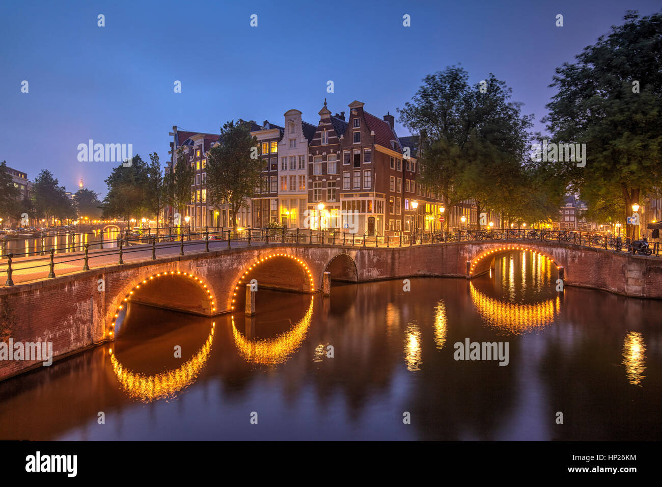 Traditional canals in Amsterdam, Netherlands - Stock Image