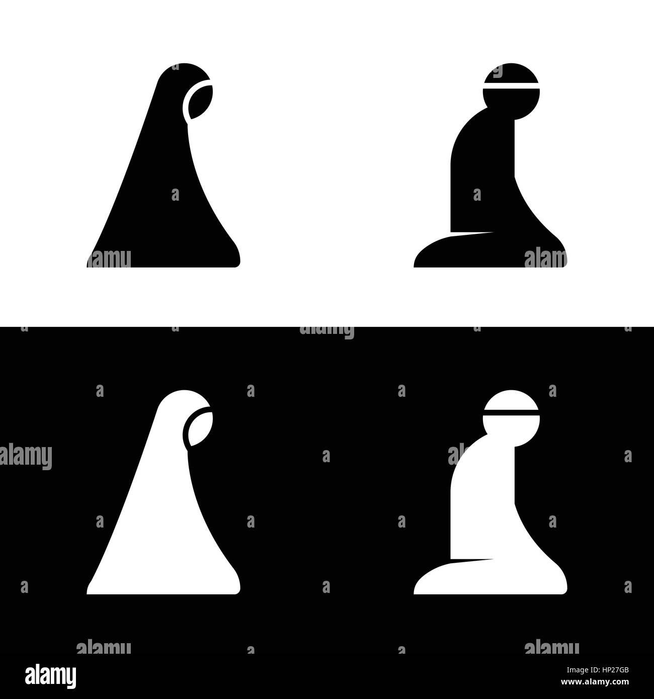 Islamic Prayer Room Area Sign Symbol Logo Icon Vector Illustration - Stock Image