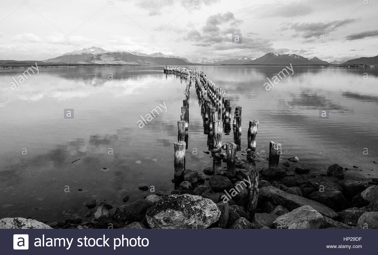 Beautiful day in Puerto Natales, Chile - Stock Image