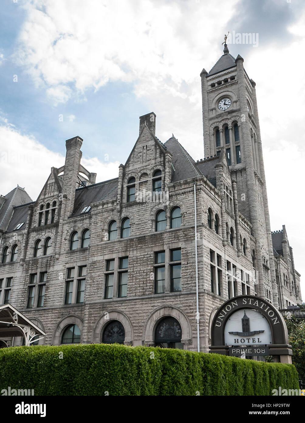 Historic Union Station Hotel, Nashville, Tennessee - Stock Image