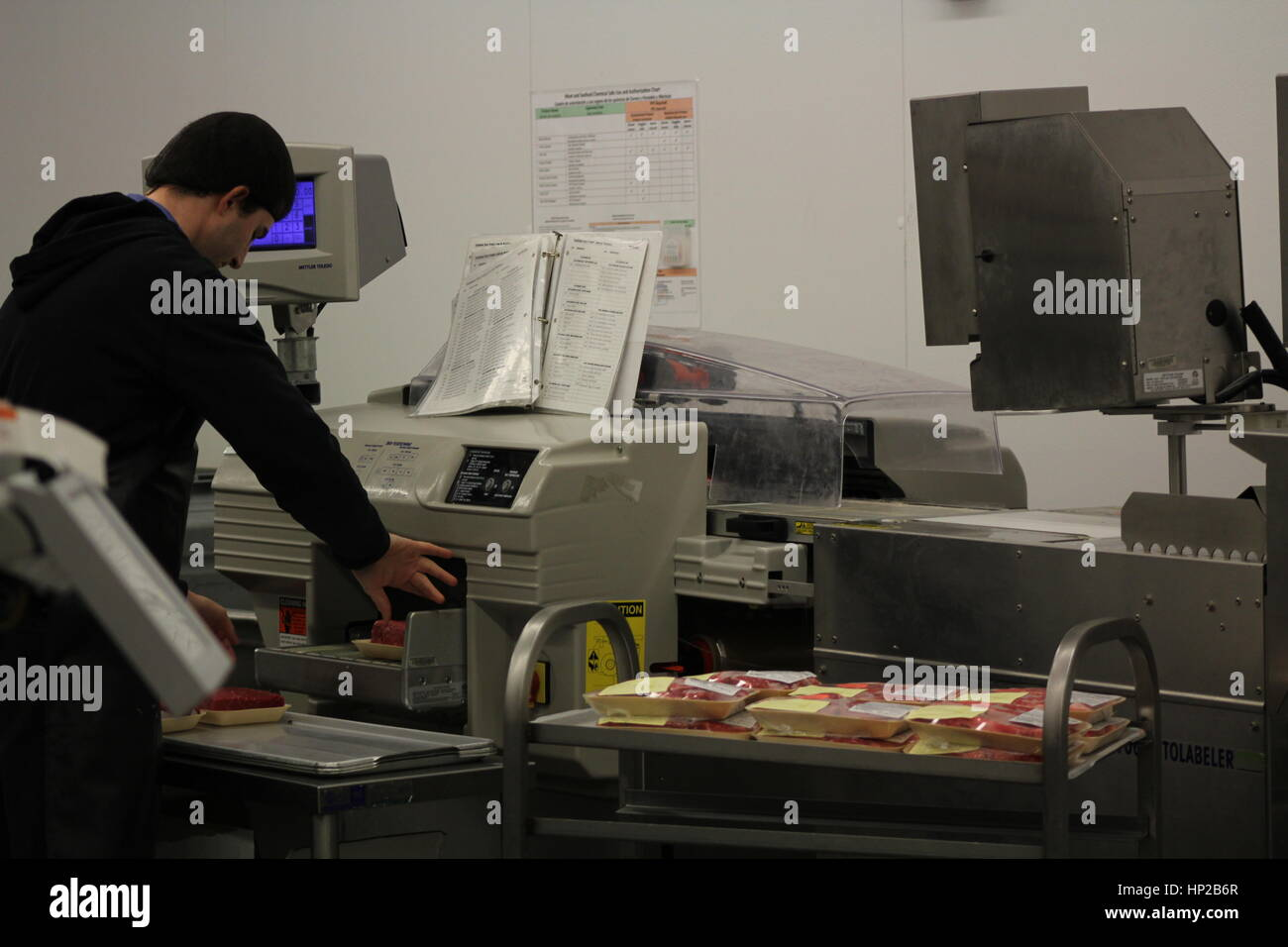 Minimum wage worker packages meat that has been produced by factory farms. - Stock Image