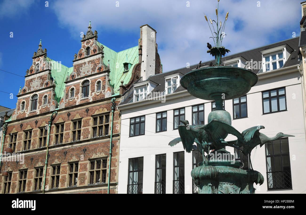 Fountain Stork on Amagertorv square at the city centre in Copenhagen, Denmark - Stock Image