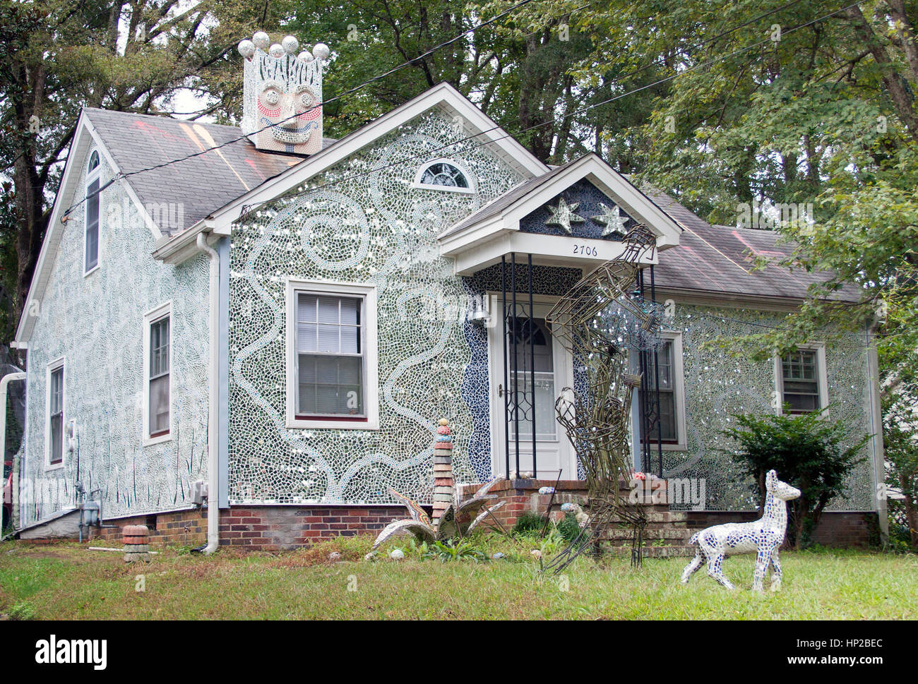 Gene Dillard Mosaic House in Durham North Carolina - Stock Image