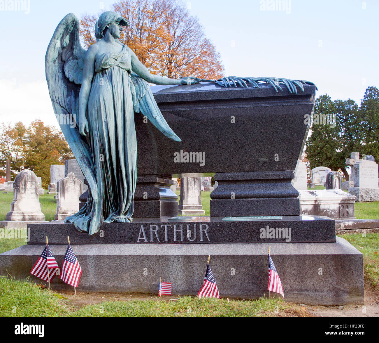 Chester A. Arthurs grave in the Albany Rural Cemetery New York - Stock Image