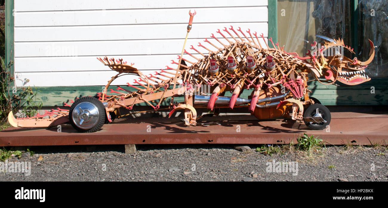 Steve Heller folk art like this dinosaur in Boiceville New York. - Stock Image