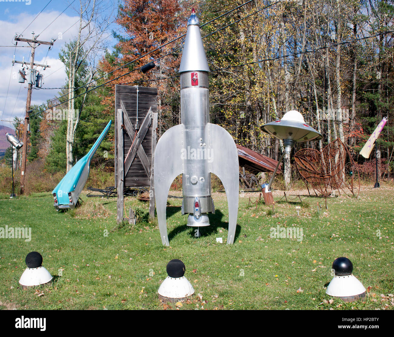 Steve Heller folk art like this rocketship in Boiceville New York. - Stock Image