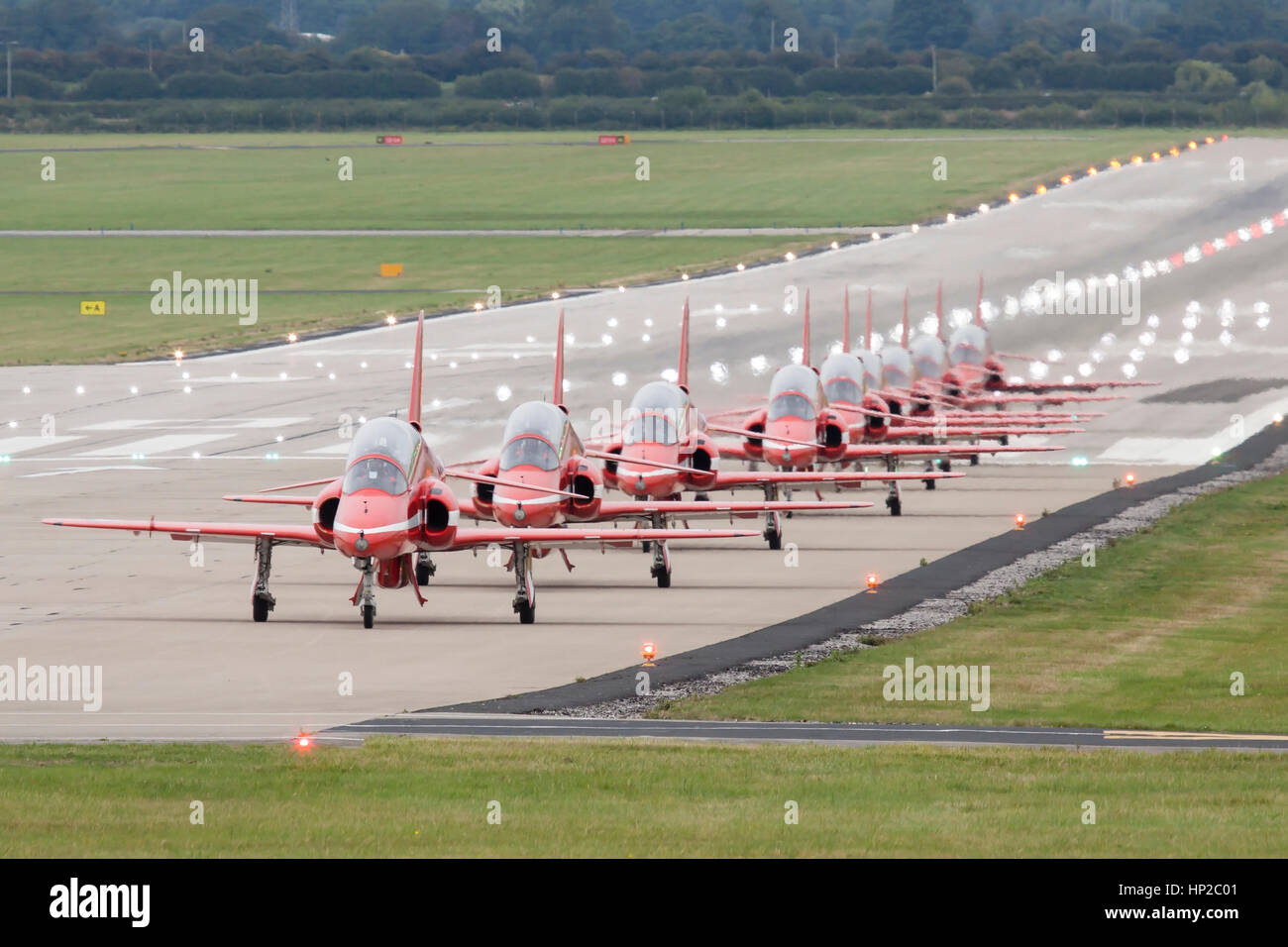 Royal Air Force Red Arrows Aerobatic Display Team taxy for take off at Hawarden Airport, Chester, England, UK after - Stock Image