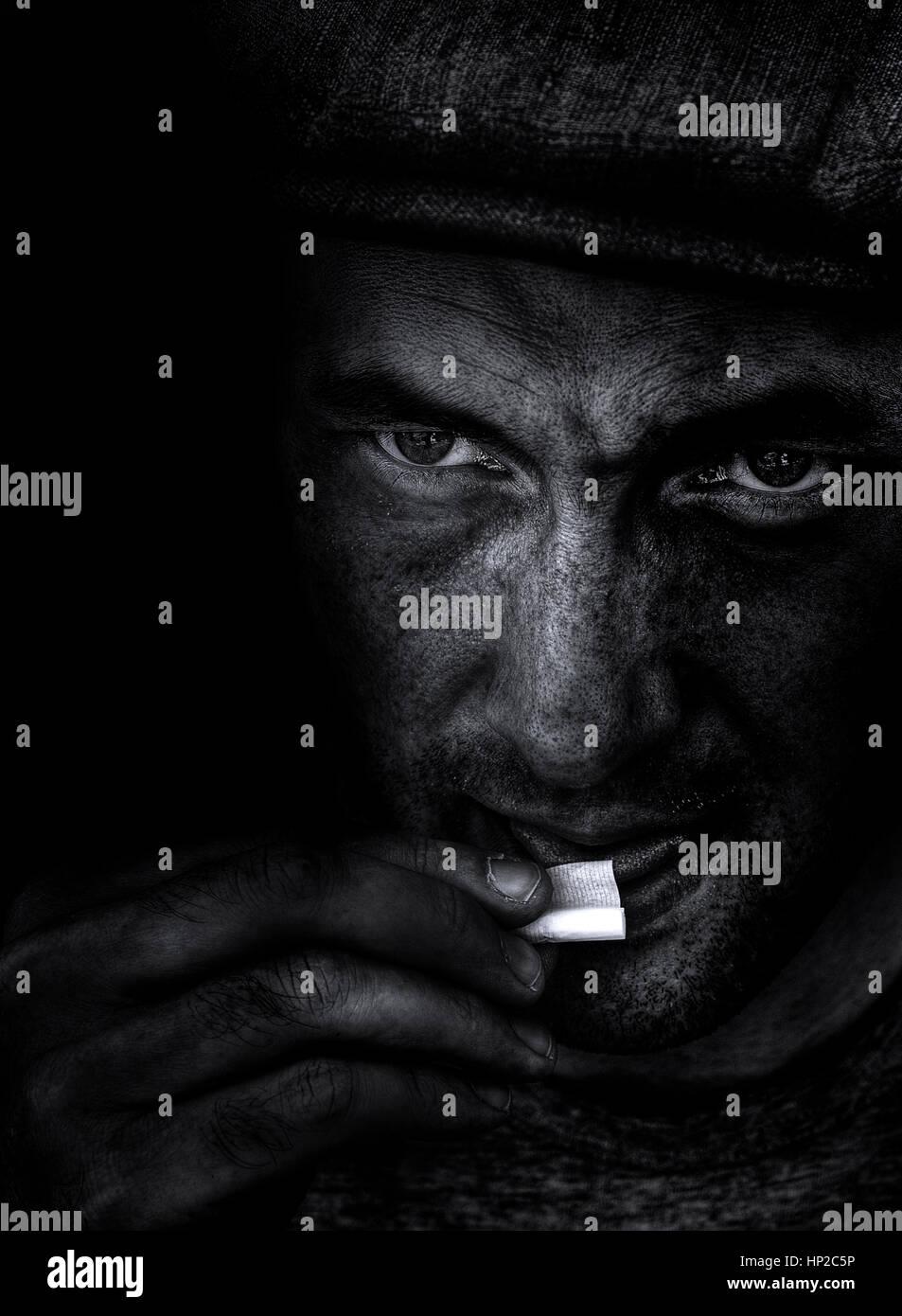 Dirty man portrait - Stock Image