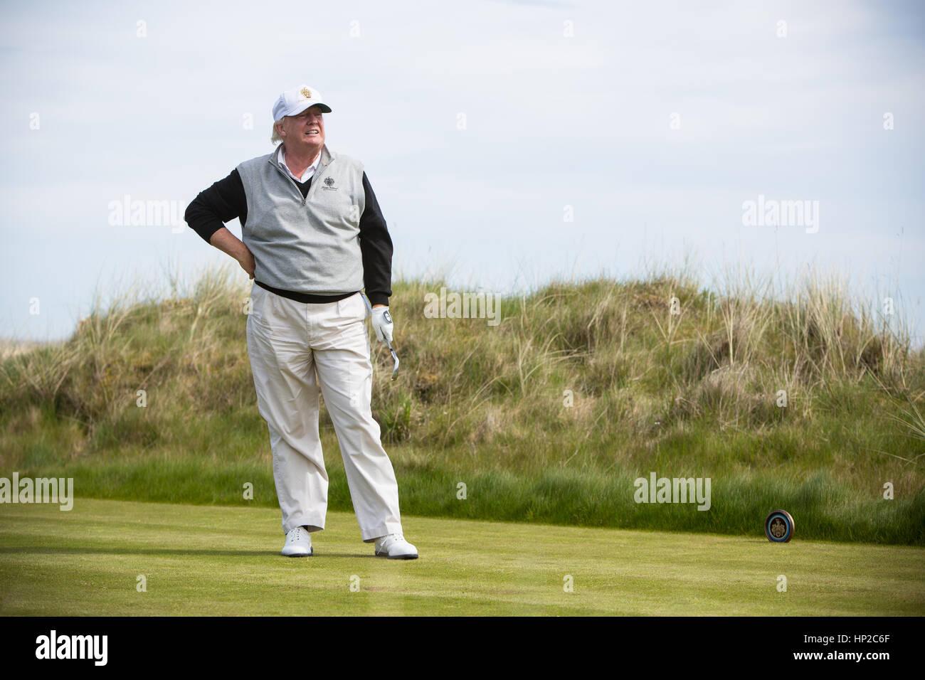 President Donald Trump Photographed at Trump Links International Golf Course at Aberdeen Scotland. - Stock Image
