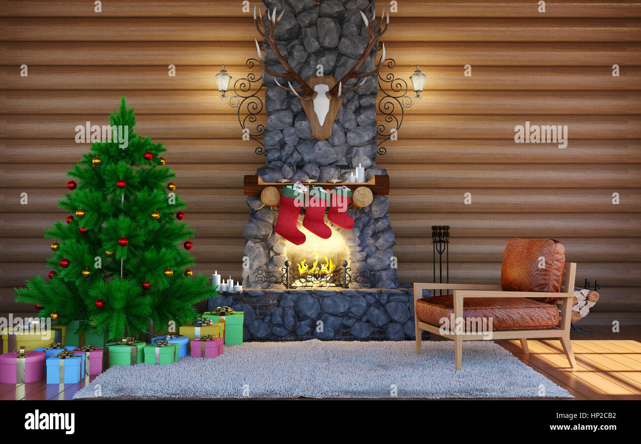 christmas festive decorations room interior in log cabin building with stone fireplace christmas living